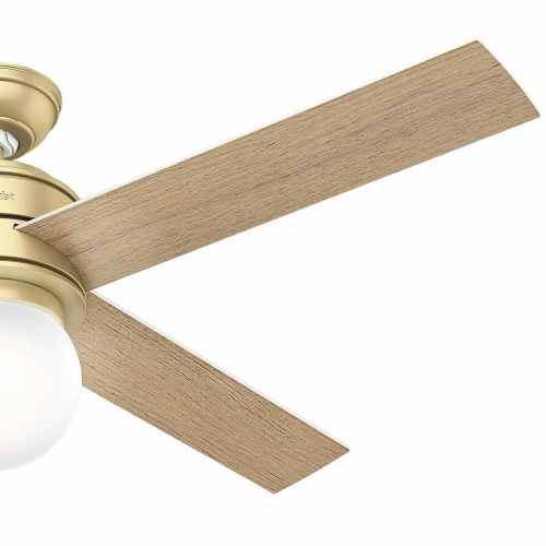 """Hunter Hepburn 52"""" Indoor Ceiling Fan with LED Lights with Switch, Modern Brass Perspective: left"""