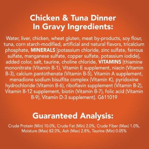 Friskies Prime Filets Chicken & Tuna Dinner in Gravy Wet Cat Food Perspective: left