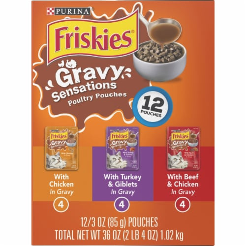 Friskies Gravy Sensations Poultry Pouches Wet Cat Food Variety Pack Perspective: left