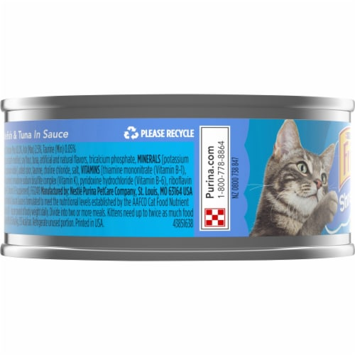 Friskies Shreds with Ocean Whitefish & Tuna in Sauce Wet Cat Food Perspective: left