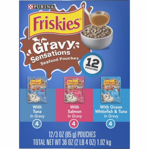 Friskies Gravy Sensations Seafood Favorites Pouches Wet Cat Food Variety Pack Perspective: left
