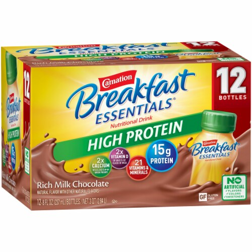 Carnation Breakfast Essentials Chocolate High Protein Complete Nutritional Drink Perspective: left