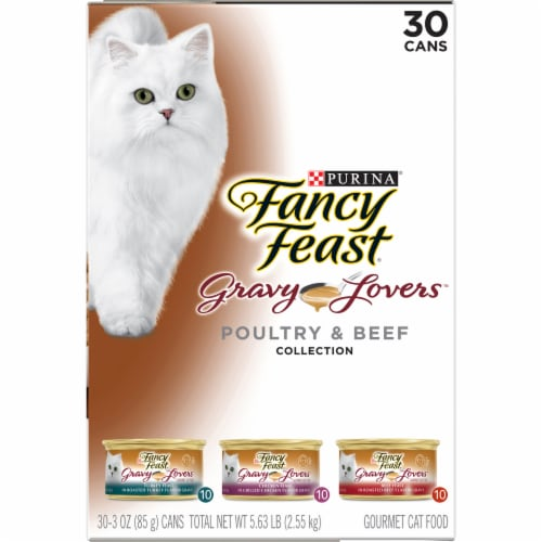 Fancy Feast Gravy Lovers Poultry & Beef Wet Cat Food Variety Pack Perspective: left