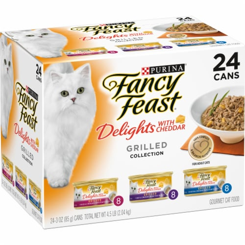 Fancy Feast Delights with Cheddar Grilled Collecton Wet Cat Food Variety Pack Perspective: left