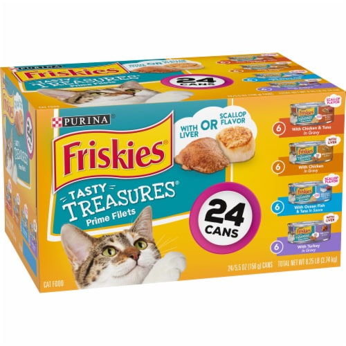 Friskies Tasty Treasures with Cheese Wet Cat Food Variety Pack Perspective: left
