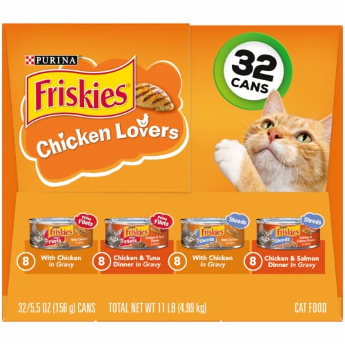 Friskies Chicken Lovers Prime Filets & Shreds Gravy Wet Cat Food Variety Pack 32 Count Perspective: left