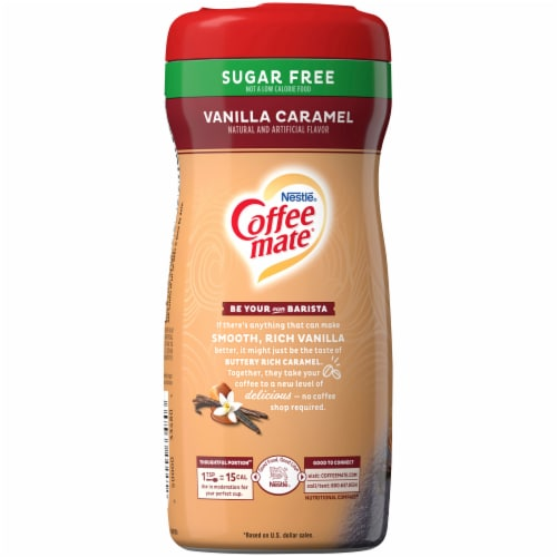 Coffee-mate Sugar Free Vanilla Caramel Powder Coffee Creamer Perspective: left