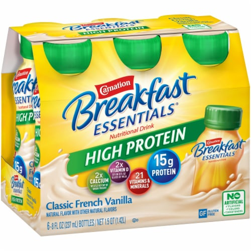 Carnation Breakfast Essentials High Protein Classic French Vanilla Drink Perspective: left