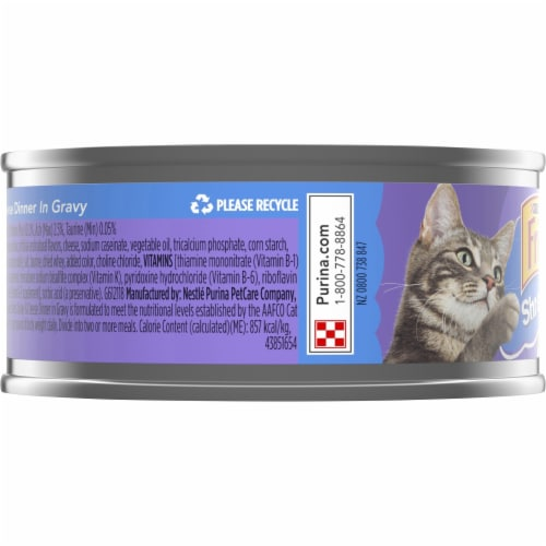 Friskies Shreds Turkey & Cheese Dinner in Gravy Wet Cat Food Perspective: left