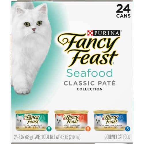 Fancy Feast Seafood Classic Pate Wet Cat Food Variety Pack Perspective: left