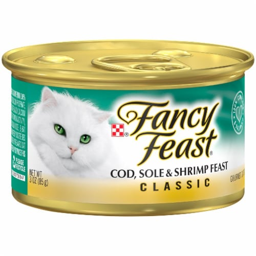 Fancy Feast Classic Pate Cod Sole & Shrimp Feast Wet Cat Food Perspective: left