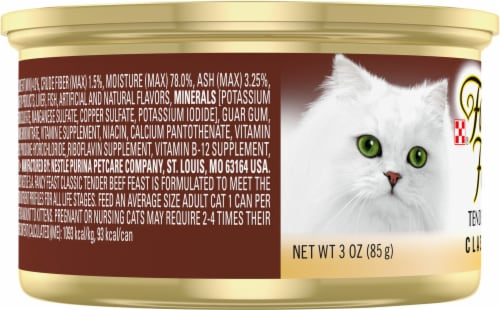 Purina Fancy Feast Classic Pate Tender Beef Feast Wet Cat Food Can Perspective: left