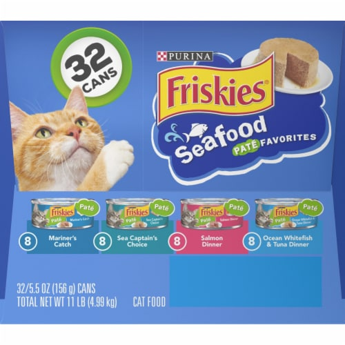 Friskies Pate Seafood Favorites Wet Cat Food Variety Pack Perspective: left