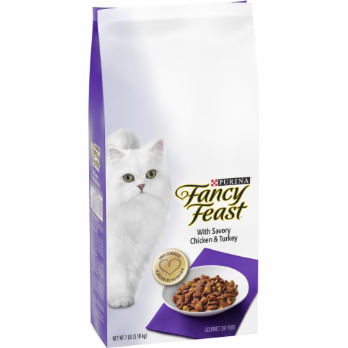 Fancy Feast with Savory Chicken & Turkey Dry Cat Food Perspective: left