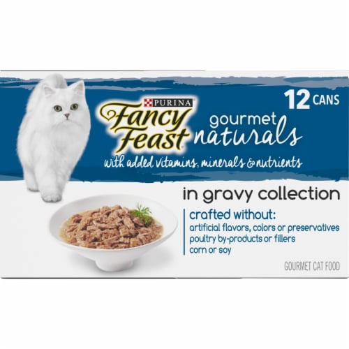 Fancy Feast Gourmet Naturals in Gravy Collection Wet Cat Food Variety Pack Perspective: left