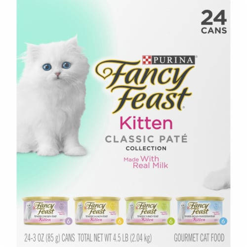Fancy Feast Classic Pate Collection Wet Kitten Food Variety Pack Perspective: left