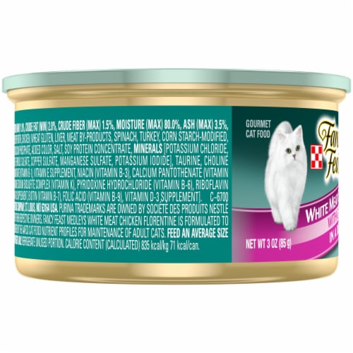 Purina Fancy Feast Medleys White Meat Chicken Florentine Gravy Wet Cat Food Can Perspective: left