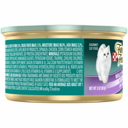 Purina Fancy Feast Medleys Wild Salmon Florentine Wet Cat Food Perspective: left