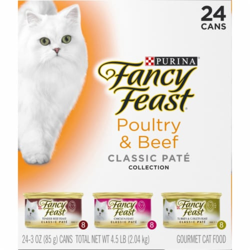 Fancy Feast Poultry & Beef Classic Pate Collection Wet Cat Food Variety Pack Perspective: left