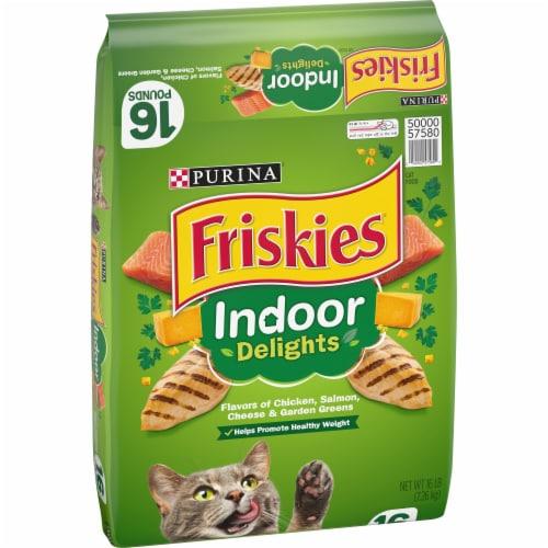 Purina Friskies Indoor Delights Dry Cat Food Bag Perspective: left