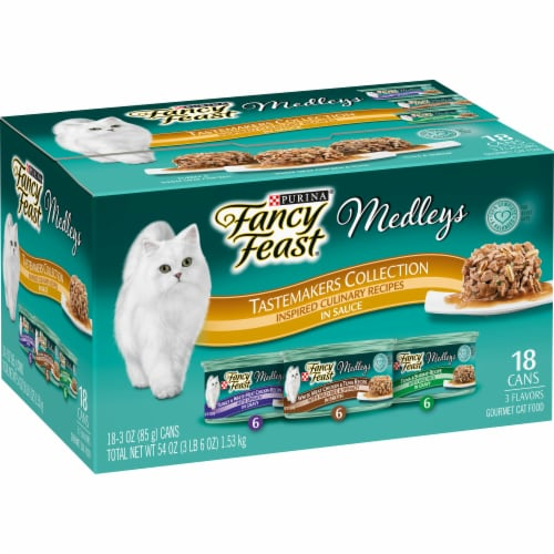 Fancy Feast Medleys Tastemakers Collection Wet Cat Food Variety Pack Perspective: left