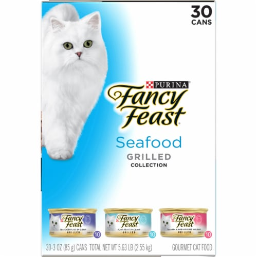 Fancy Feast Grilled Seafood Collection Variety Pack 30 Count Perspective: left