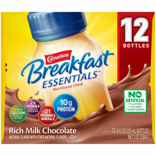 Carnation Breakfast Essentials Rich Milk Chocolate Nutritional Drink Perspective: left