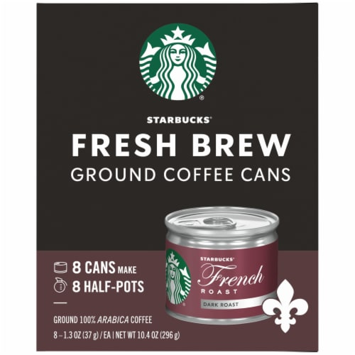 Starbucks Fresh Brew French Roast Ground Coffee Cans 8 Count Perspective: left