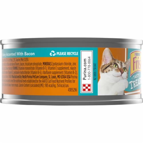 Friskies Tasty Treasures Chicken Dinner Accented with Bacon Gravy Wet Cat Food Perspective: left
