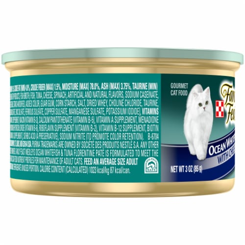 Fancy Feast Medleys Whitefish & Tuna Florentine with Cheese Pate Wet Cat Food Perspective: left
