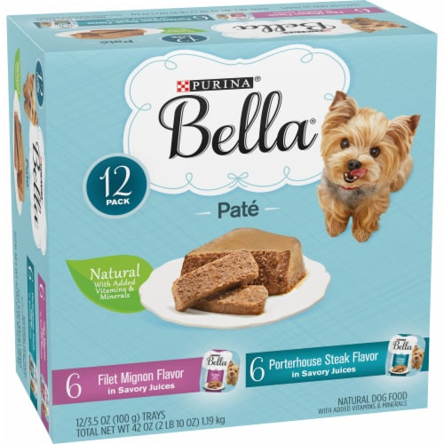 Bella Filet Mignon & Porterhouse Steak Pate in Juices Small Breed Wet Adult Dog Food Variety Pack Perspective: left
