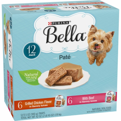 Bella Grilled Chicken & Beef in Juices Pate Small Breed Wet Dog Food Variety Pack Perspective: left