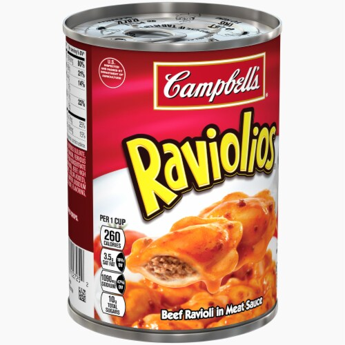 Campbell's Raviolios Beef Ravioli in Meat Sauce Perspective: left