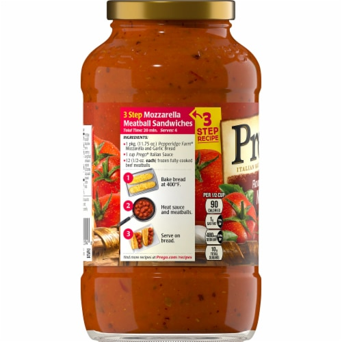 Prego Gluten Free Italian Tomato Sauce Flavored with Meat Perspective: left