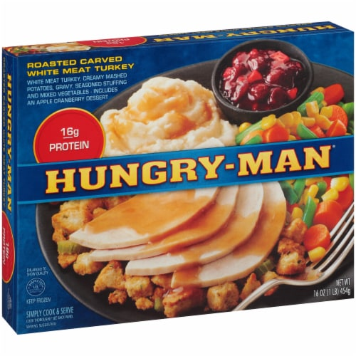 Hungry-Man Roasted Carved White Meat Turkey Frozen Meal Perspective: left