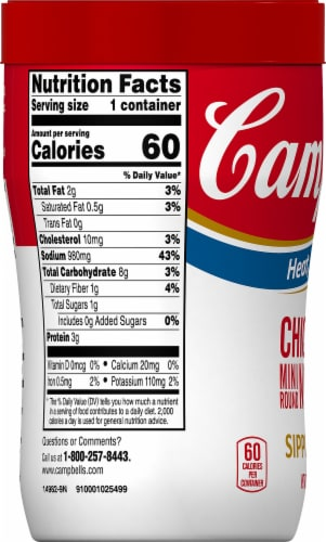 Campbell's Soup on the Go Chicken & Mini Round Noodles Sipping Soup Perspective: left