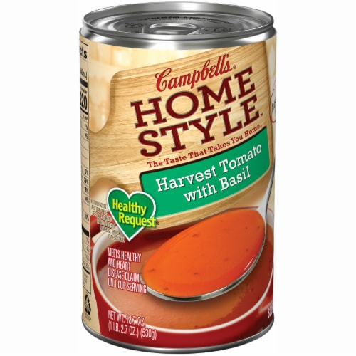Campbell's Homestyle Healthy Request Harvest Tomato with Basil Soup Perspective: left