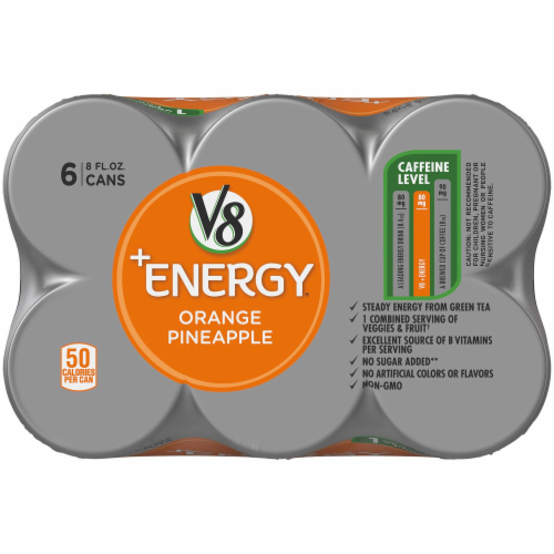 V8 +Energy Orange Pineapple Juice Perspective: left