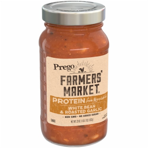 Prego Farmers' Market White Bean & Roasted Garlic Pasta Sauce Perspective: left