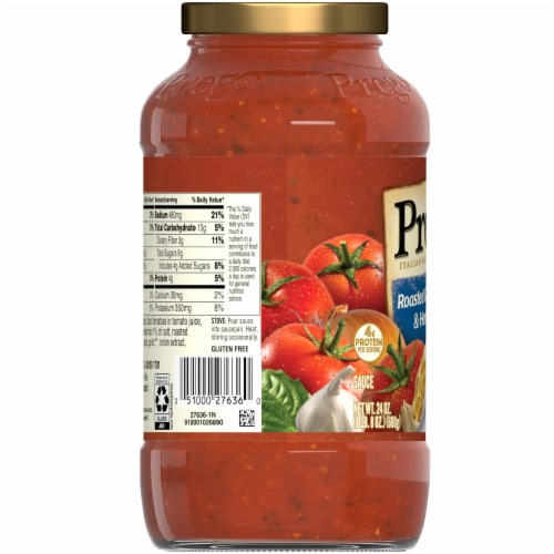 Prego Plus Plant Protein Roasted Garlic & Herb Pasta Sauce Perspective: left