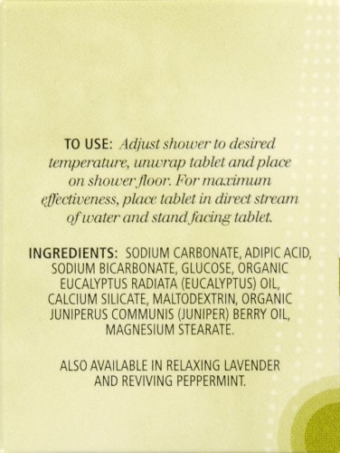 Aura Cacia Purifying Eucalyptus Aromatherapy Shower Tablet Perspective: left