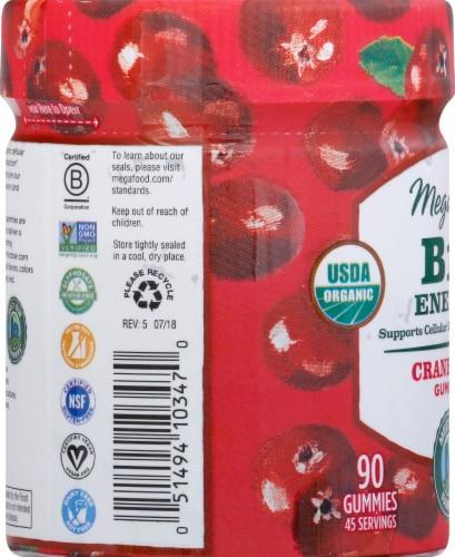 MegaFood Organic B12 Energy Cranberry Gummies Perspective: left