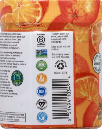 MegaFood Tangy Citrus C Defense Gummies Perspective: left
