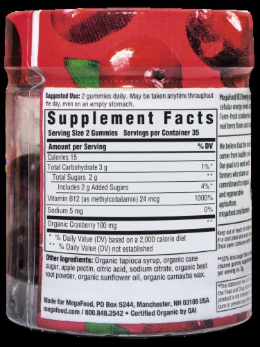 MegaFood Vitamin B12 Organic Cranberry Dietary Supplement Gummies Perspective: left