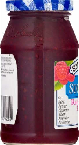 Smucker's Sugar Free Red Raspberry Preserves Perspective: left