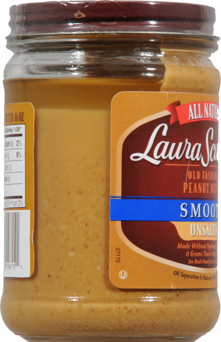 Laura Scudder's All Natural Old Fashioned Smooth Unsalted Peanut Butter Perspective: left