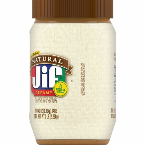 Jif Natural Creamy Peanut Butter Twin Pack Perspective: left