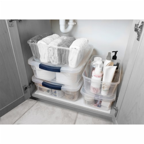 Rubbermaid 6 Quart Latching Clear Plastic Storage Tote Container & Lid, 12 Pack Perspective: left