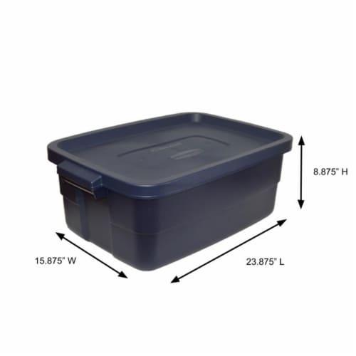 Rubbermaid 10 Gallon Stackable Storage Container, Dark Indigo Metallic (8 Pack) Perspective: left