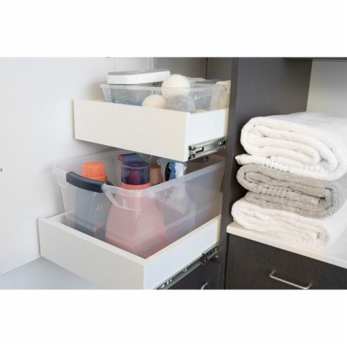 Rubbermaid Cleverstore 16 Quart Plastic Storage Tote Container with Lid (6 Pack) Perspective: left